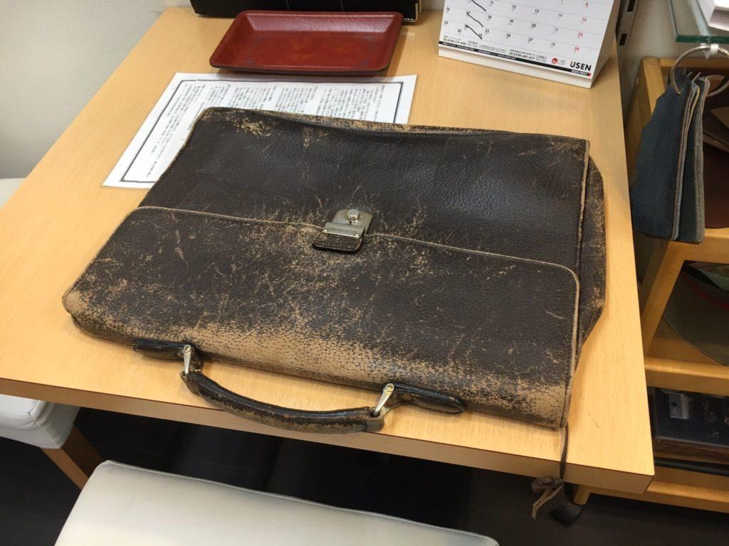 紳士皮革鞄リメイクbefore|宇都宮クリーニングミツボシ